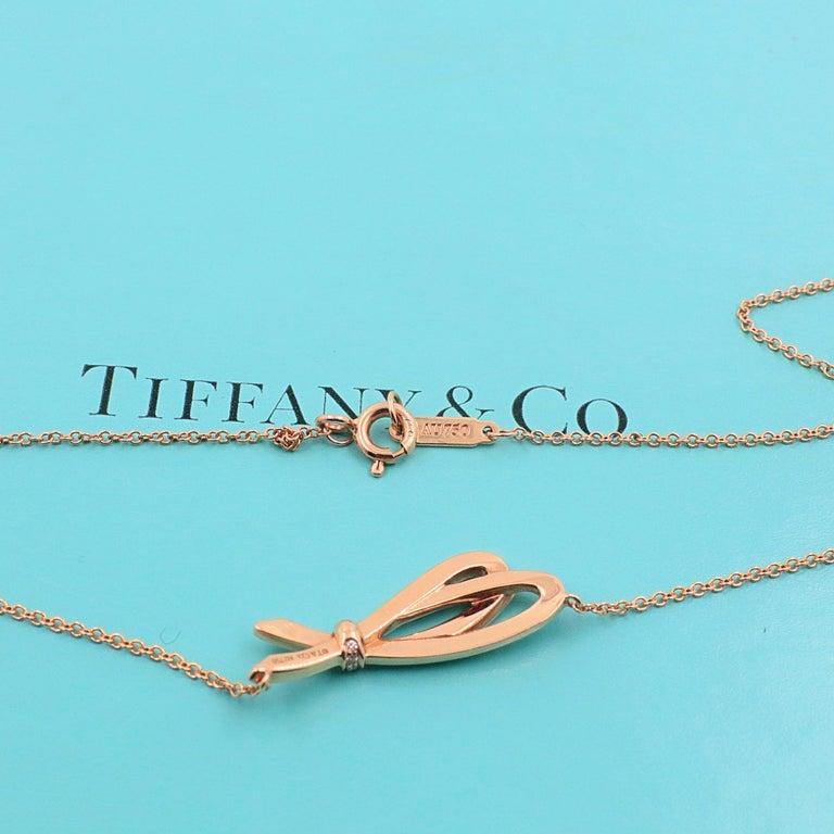 Tiffany & Co. Diamond Bow Pendant Necklace 18 Karat Rose Gold For Sale 1