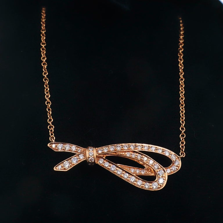 Tiffany & Co. Diamond Bow Pendant Necklace 18 Karat Rose Gold For Sale 3