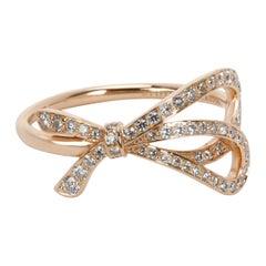 Tiffany & Co. Diamond Bow Ring in 18 Karat Rose Gold 0.32 Carat