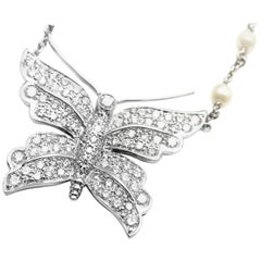 Tiffany & Co. Diamond Butterfly Pearl Platinum Pendant Necklace