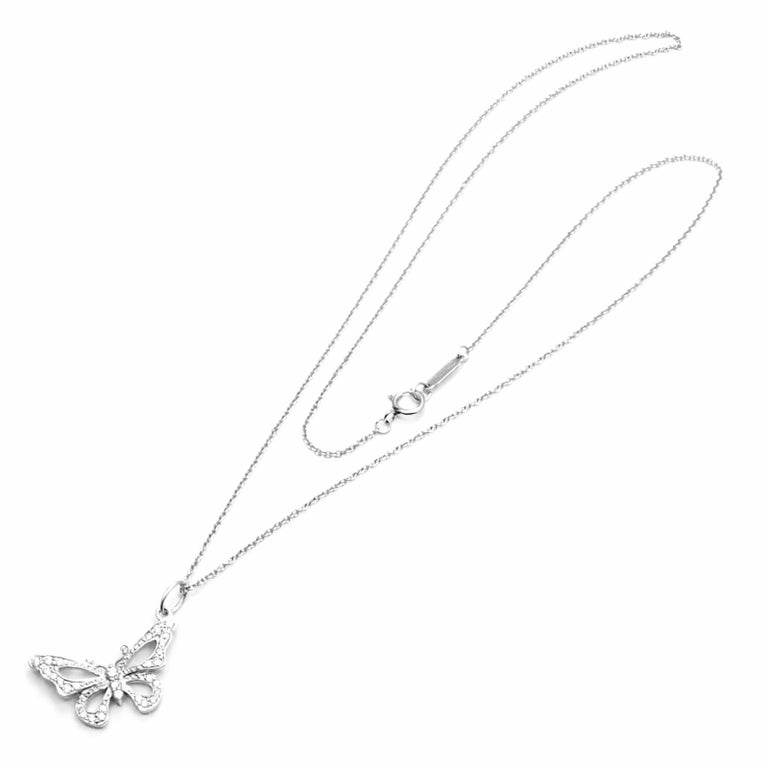 Platinum Diamond Butterfly Pendant Necklace by Tiffany & Co. With Round brilliant cut diamonds VS1 clarity, G color total weight approx. 0.70ct Details: Chain Length: 18