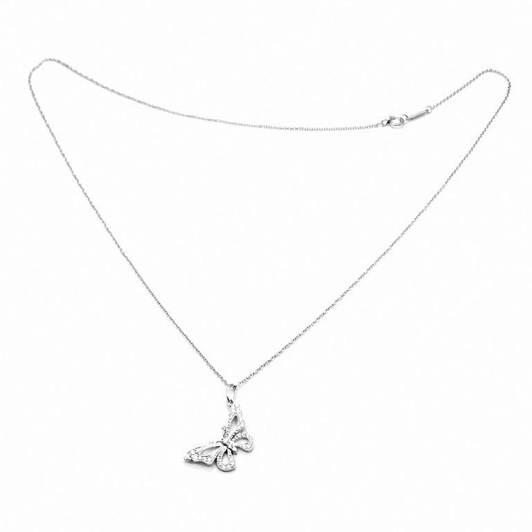 Brilliant Cut Tiffany & Co. Diamond Butterfly Platinum Pendant Necklace For Sale