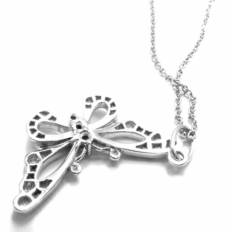 Tiffany & Co. Diamond Butterfly Platinum Pendant Necklace In Excellent Condition For Sale In Holland, PA
