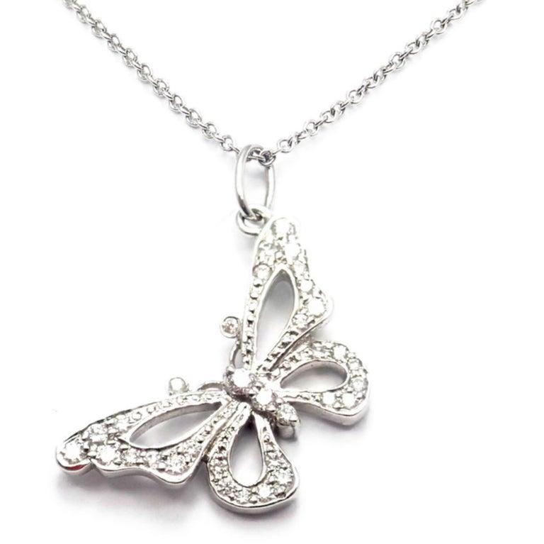 Women's or Men's Tiffany & Co. Diamond Butterfly Platinum Pendant Necklace For Sale