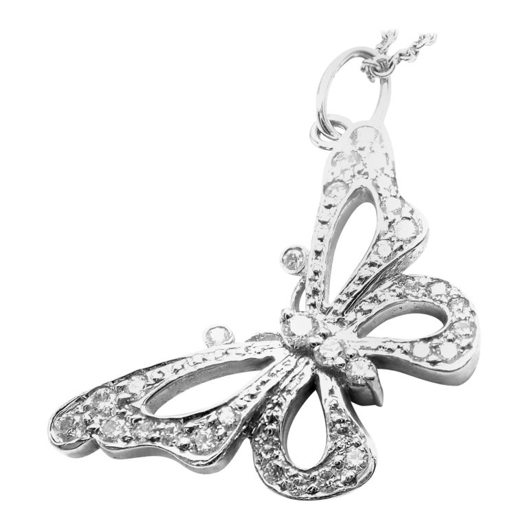 Tiffany & Co. Diamond Butterfly Platinum Pendant Necklace For Sale