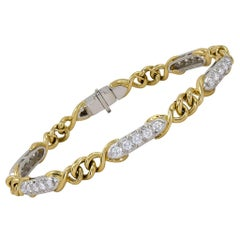 Tiffany & Co. Diamond Yellow Gold Chain Link Bracelet