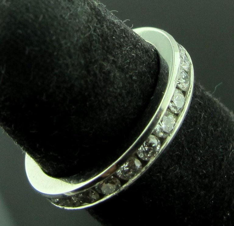 Round Cut Tiffany & Co. Diamond Channel Set Band in Platinum For Sale
