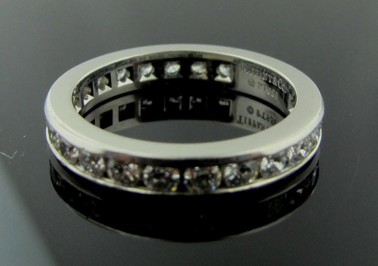 Women's or Men's Tiffany & Co. Diamond Channel Set Band in Platinum For Sale