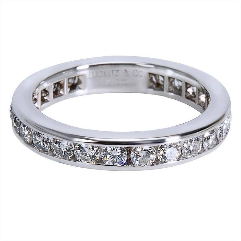 24b6fb18e5c Tiffany   Co. Diamond Channel Set Diamond Wedding Band in Platinum 0.75  Carat For Sale