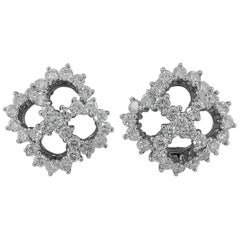 Tiffany & Co. Diamond Platinum Clover Earrings