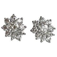 Tiffany & Co. Diamond Cluster Stud Earrings in Original Box