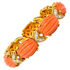 Tiffany & Co. Diamond Coral Platinum-Topped 18 Karat Gold Link Bracelet