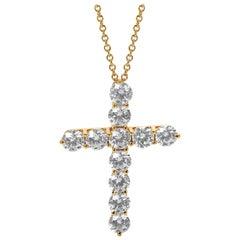 Tiffany & Co. Diamond Cross Necklace in 18 Karat Yellow Gold 2.00 Carat