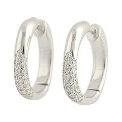 Tiffany & Co. Diamond Cushion Hoop Earrings, 18 Karat Gold Pierced .52 Carat