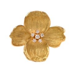 Tiffany & Co. Diamond Dogwood Flower 18 Karat Yellow Gold Brooch Pin