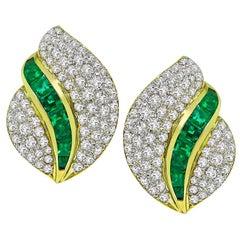 Tiffany & Co. Diamond Emerald Gold Earrings