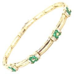 Tiffany & Co. Diamond Emerald Link Tennis Yellow Gold Bracelet