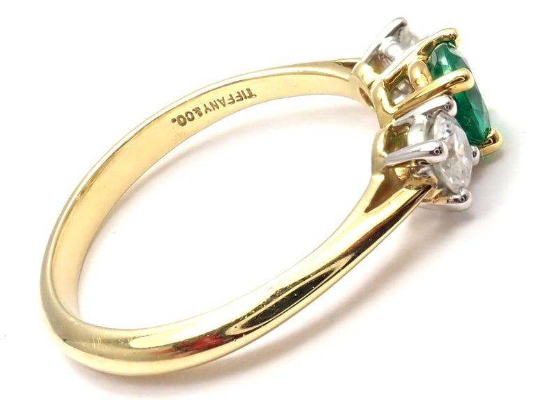 Brilliant Cut Tiffany & Co. Diamond Emerald Three-Stone Platinum Yellow Gold Band Ring For Sale