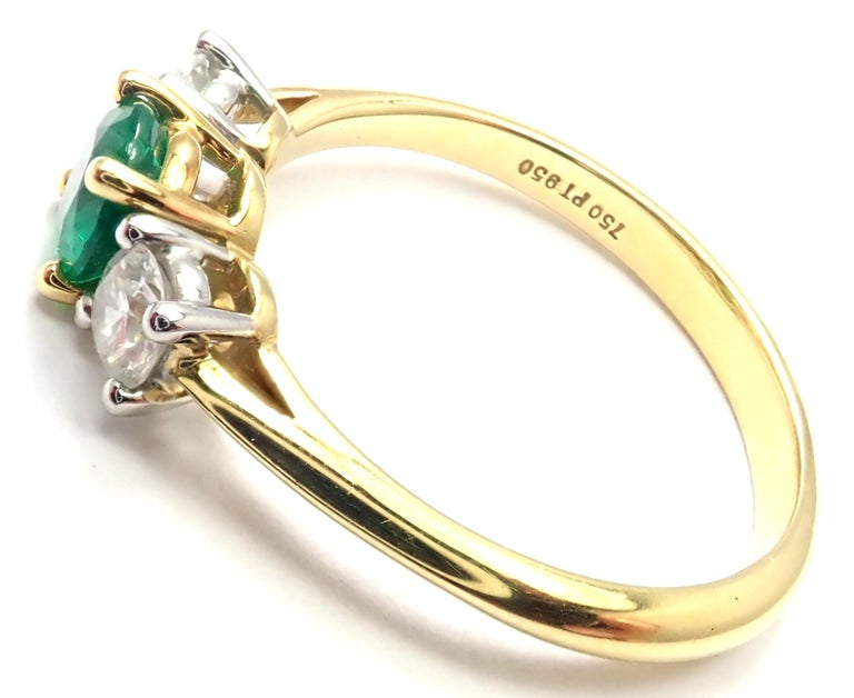 Women's or Men's Tiffany & Co. Diamond Emerald Three-Stone Platinum Yellow Gold Band Ring For Sale