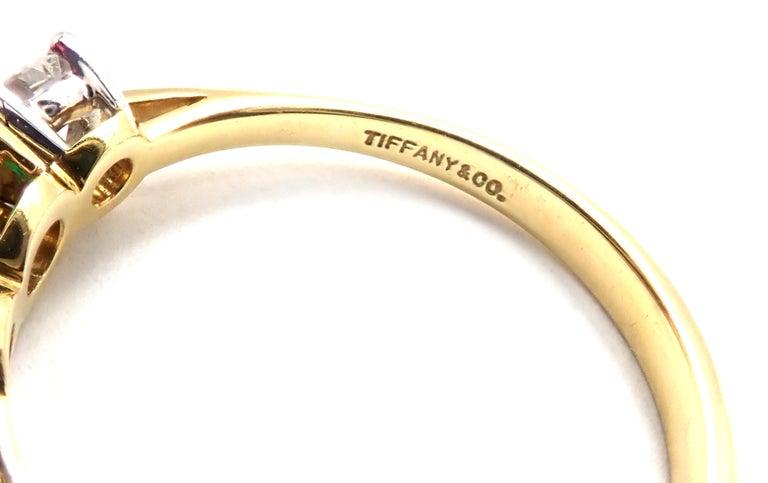 Tiffany & Co. Diamond Emerald Three-Stone Platinum Yellow Gold Band Ring For Sale 1