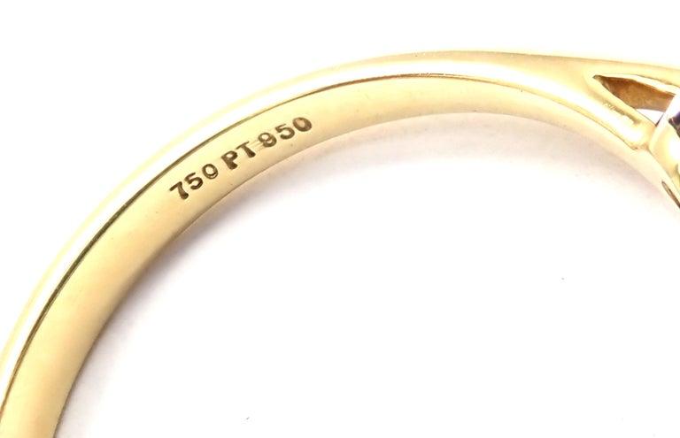 Tiffany & Co. Diamond Emerald Three-Stone Platinum Yellow Gold Band Ring For Sale 2