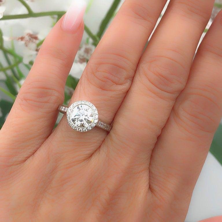 39e0df263 Art Deco Tiffany & Co Diamond Engagement Ring Round Brilliant 2.27 TCW Bead  Set Platinum For