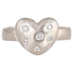Tiffany & Co. Diamond Etoile Heart Ring 18 Karat White Gold Estate Fine Jewelry