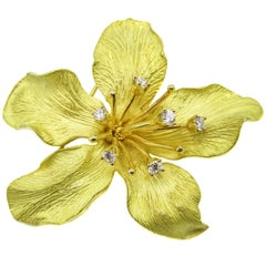 Tiffany & Co. Diamond Gold Flower Brooch