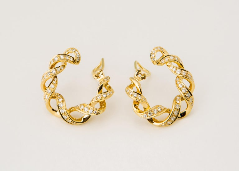 Contemporary Tiffany & Co. Diamond Gold Hoop Earrings