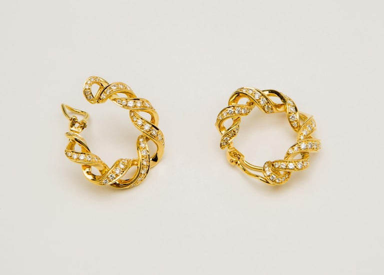 Tiffany & Co. Diamond Gold Hoop Earrings In Excellent Condition In Atlanta, GA