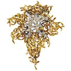 Tiffany & Co. Diamond Gold Large Brooch Pendant