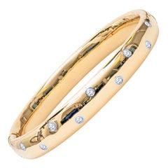 Tiffany & Co. Diamond Gold Platinum Etoile Bangle Bracelet