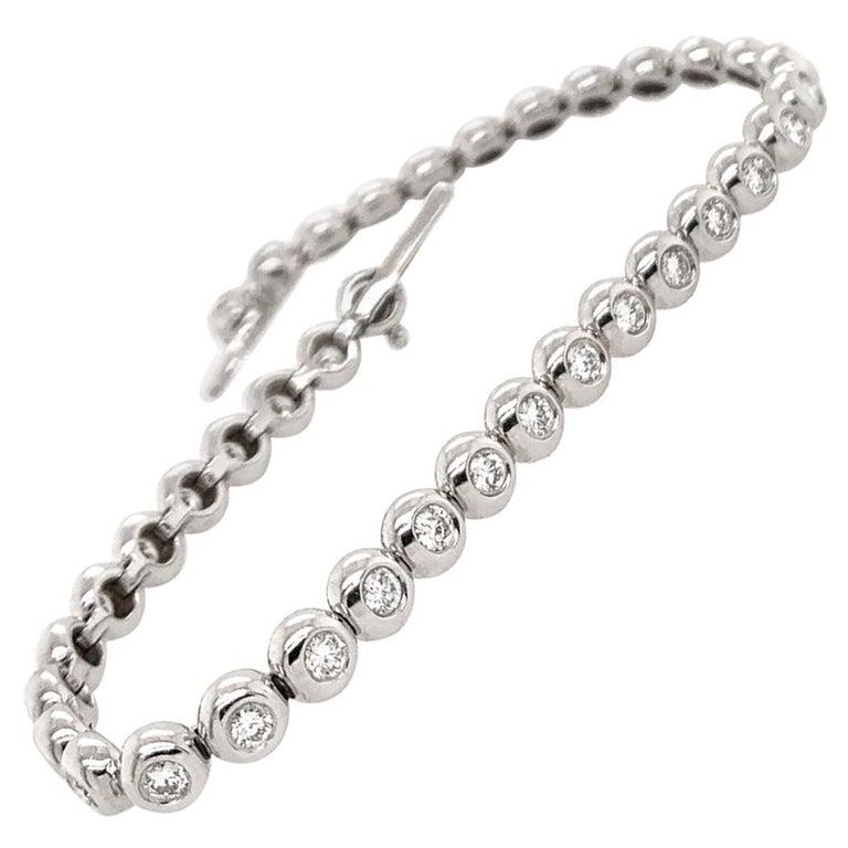 Tiffany & Co. Diamond White Gold Riviere Bracelet For Sale
