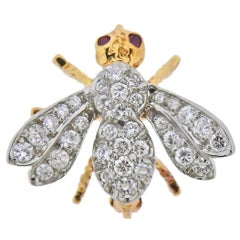 Tiffany & Co. Diamond Gold Ruby Bee Insect Brooch Pin