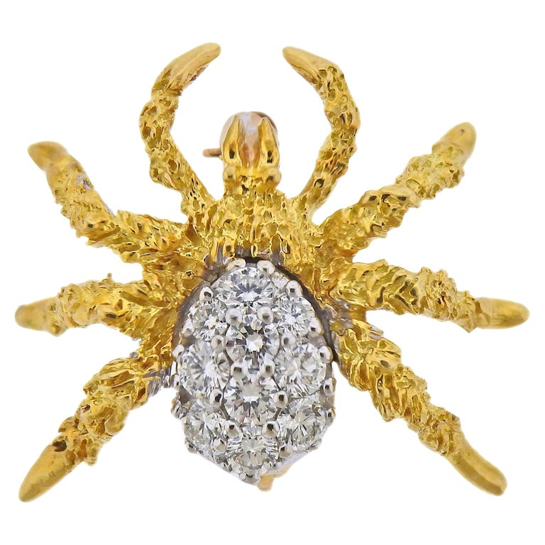 Tiffany & Co Diamond Gold Spider Brooch Pin For Sale