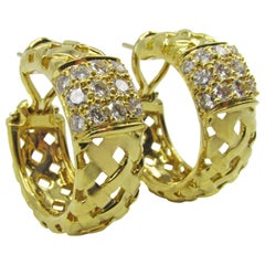 Tiffany & Co. Diamond Gold Vannerie Ear Clips