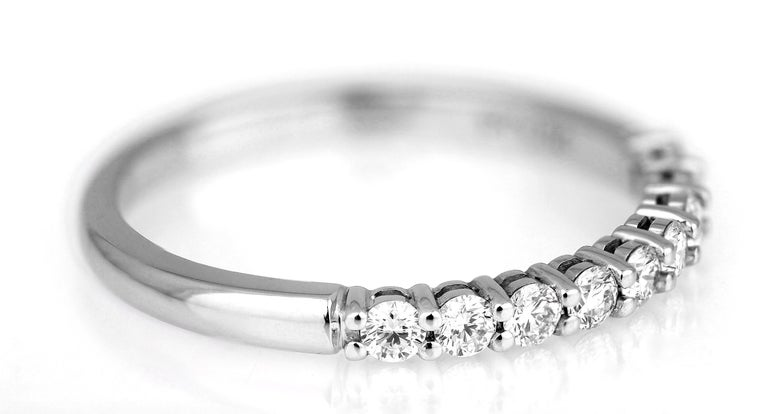 Brilliant Cut Tiffany & Co. Diamond Half Eternity Ring in Platinum, British Hallmarked