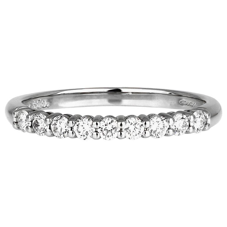 "Tiffany & Co. Diamond Half Eternity Ring in Platinum, British Hallmarked ""T&Co"" For Sale"