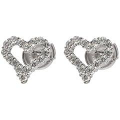 Tiffany & Co. Diamond Heart Earrings in Platinum 0.57 Carat