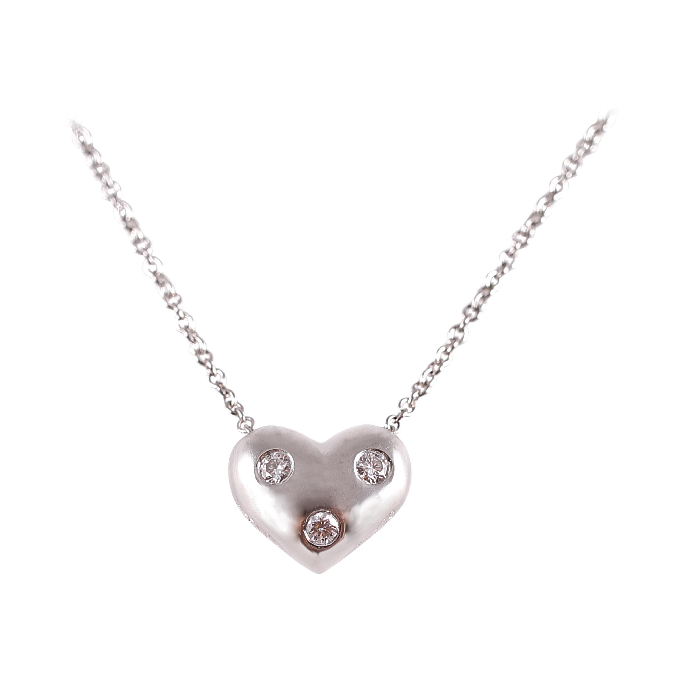 Tiffany & Co. Diamond Heart Necklace in Platinum