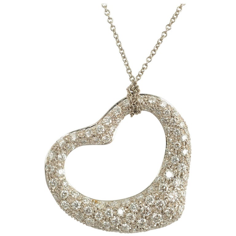 Tiffany & Co. Diamond Heart Pendant Necklace For Sale