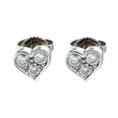 Tiffany & Co. Diamond Heart Platinum Stud Earrings