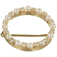 Tiffany & Co. Diamond Japanese Cultured Pearl Circle Brooch