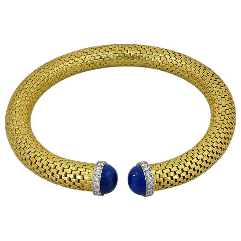 Tiffany & Co. Diamond Lapis Lazuli Choker Necklace For Sale