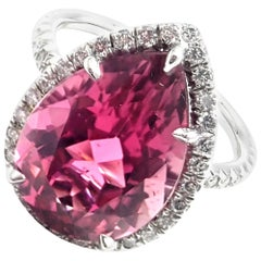 Tiffany & Co. Diamond Large Pink Tourmaline Platinum Ring