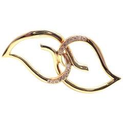 Tiffany & Co. Diamond Leaf Double Heart Yellow Gold Pin Brooch, 1987