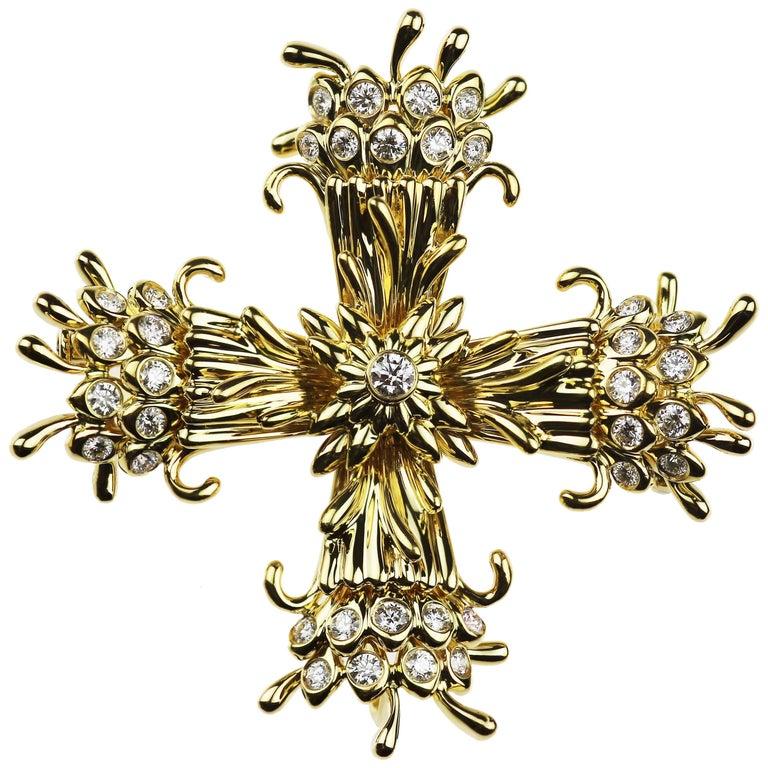 a503a5e91 Tiffany & Co. Schlumberger Diamond Maltese Cross Clip-Brooch/Pendant 18K  Gold For