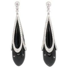Tiffany & Co. Diamond Onyx and Platinum Drop Earrings