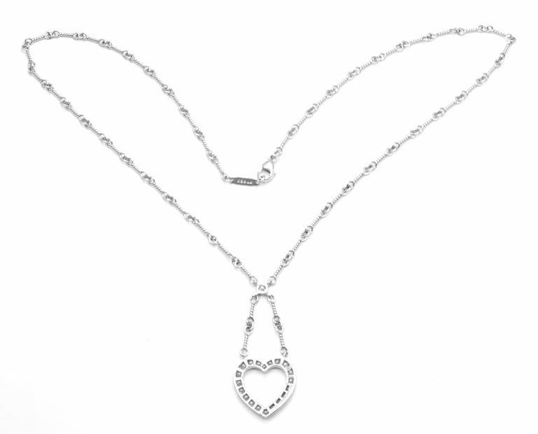 Women's or Men's Tiffany & Co. Diamond Open Heart Platinum Pendant Necklace For Sale