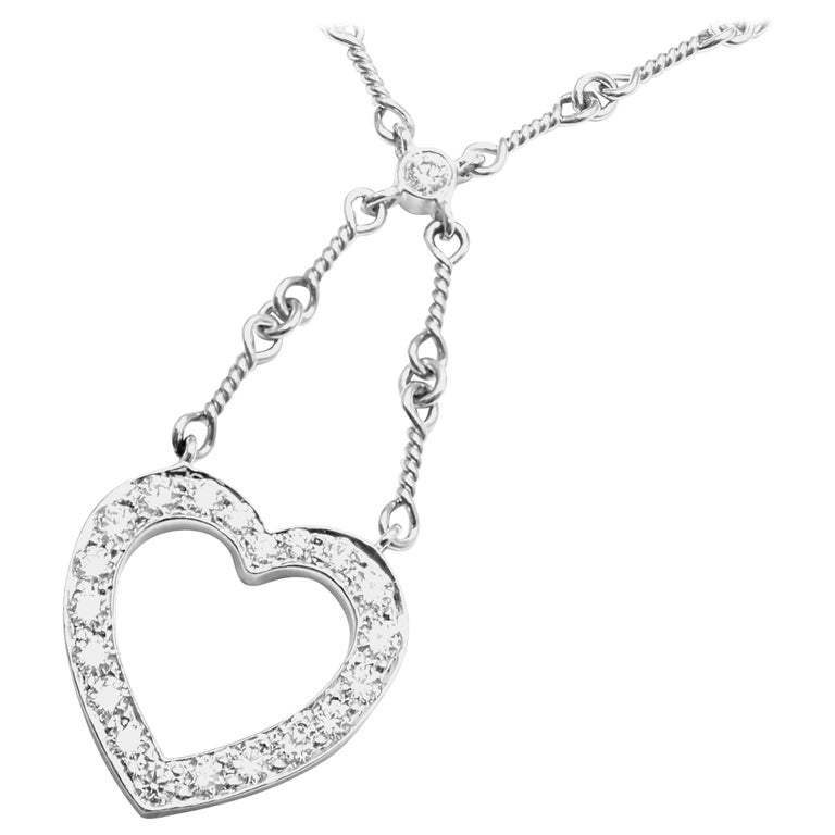 Tiffany & Co. Diamond Open Heart Platinum Pendant Necklace For Sale